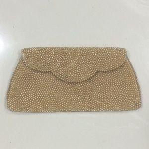 Vintage golden pearl beaded bag